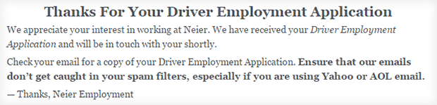 Driver Application Thanks